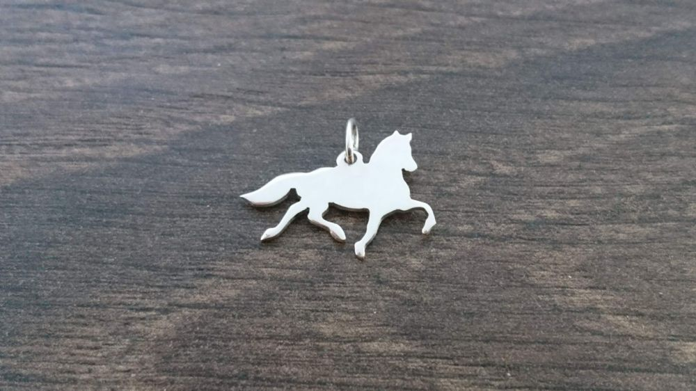 Friesian Horse Charm silhouette solid sterling silver ...